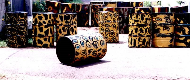 Chandraguptha Thenuwara, Barrelscape, 1998, Painted Barrels