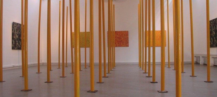 Chandraguptha Thenuwara, Neo barrelism, 2007 Installation with painted PVC yellow pipes, Lionel Wendt gallery, A view of the exhibition 'neo Barrelsim'