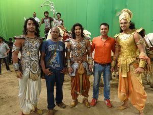 Piyush Roy with Creative Director and Producer Siddharth Kumar Tewary and actors on the set of Mahabharat